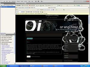 screenshot penggunaan Adobe Contribute untuk memposting blog