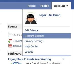 buka account setting (pengaturan akun)