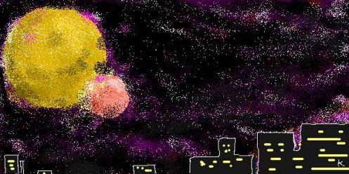 gambar ilustrasi mimpiku ..  2 bulan di langit.. program: Microsoft Paint